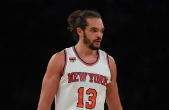 NEW YORK, NY - OCTOBER 29: Joakim Noah #13 of the New York Knicks looks on against the Memphis Grizzlies during the first half at Madison Square Garden on October 29, 2016 in New York City. NOTE TO USER: User expressly acknowledges and agrees that, by downloading and or using this photograph, User is consenting to the terms and conditions of the Getty Images License Agreement.   Michael Reaves/Getty Images/AFP