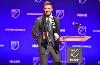 MIAMI, FL - JANUARY 29: David Beckham addresses the crowd during the press conference announcing an MLS franchise in Miami at the Knight Concert Hall on January 29, 2018 in Miami, Florida.   Eric Espada/Getty Images/AFP