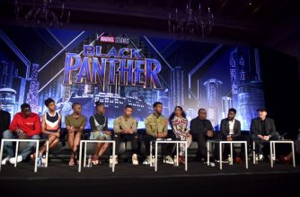 File Photo: BEVERLY HILLS, CA - JANUARY 30: (L-R) Actors Daniel Kaluuya, Letitia Wright, Danai Gurira, Lupita Nyong'o, Michael B. Jordan, Chadwick Boseman, Angela Bassett, and Forest Whitaker, director Ryan Coogler, and President of Marvel Studios Kevin Feige attend the Marvel Studios' BLACK PANTHER Global Junket Press Conference on January 30, 2018 at Montage Beverly Hills in Beverly Hills, California.   Alberto E. Rodriguez/Getty Images for Disney/AFP