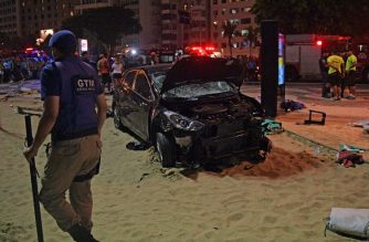 The scene of a car crash pictured at Copacabana beach in Rio de Janeiro on January 18, 2018. At least 11 people were injured by a car that drove up onto Copacabana's tourist-packed seafront promenade in the heart of Rio de Janeiro. / AFP PHOTO / CARL DE SOUZA