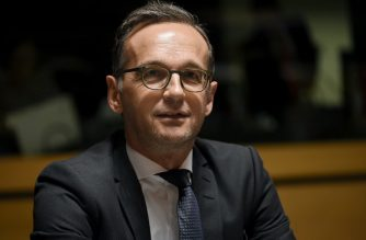 German Justice minister Heiko Maas looks on during a Justice Affairs Council meeting at the European Union Council headquarters in Luxembourg on October 12, 2017.  / AFP PHOTO / JOHN THYS
