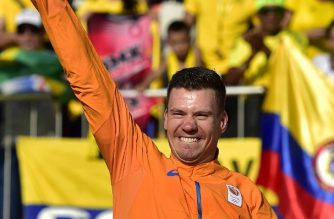 (FILES) This file photo taken on August 19, 2016 shows Silver medalist Netherlands' Jelle Van Gorkom celebrating on the podium of the men's BMX cycling event of the Rio 2016 Olympic Games at the Olympic BMX Centre in Rio de Janeiro. Dutch cyclist Jelle van Gorkom  was in a coma on January 10, 2018, following a crash which left him with a damaged skull, officials said. The 27-year-old was hurt after an accident in training at the national sports centre at Papendal near Arnhem in the east of the country.   / AFP PHOTO / CARL DE SOUZA