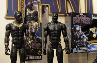 "Black Panther toys are displayed to attendees at the Hasbro showroom during the annual New York Toy Fair, on February 20, 2018, in New York.  Panther claws, masks and action figures are leaping off store shelves after runaway hit ""Black Panther"" -- the first film in the Marvel universe focused on a black superhero -- shredded box office expectations with a massive opening weekend. Toys and accessories linked to the movie, which is also making waves for its strong black female leading roles, have the potential to become an enduring presence in stores, like Spider-Man and other iconic figures, company executives say. Toy tie-ins remain a crucial profit driver for movie studios, even if each merchandise opportunity is not massively successful, experts say.   / AFP PHOTO / EDUARDO MUNOZ ALVAREZ / TO GO WITH AFP STORY by John BIERS, ""'Black Panther' toy sales fierce as film opens big"""