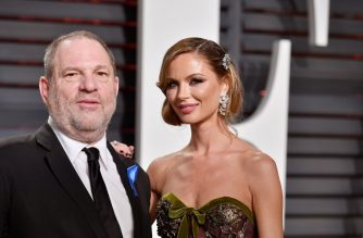 (FILES) In this file photo taken on February 26, 2017 shows Co-Chairman, The Weinstein Company Harvey Weinstein (L) and fashion designer Georgina Chapman attending the 2017 Vanity Fair Oscar Party hosted by Graydon Carter at Wallis Annenberg Center for the Performing Arts  in Beverly Hills, California.    Marchesa, the fashion label co-owned by Harvey Weinstein's estranged wife Georgina Chapman and famous for clothing Hollywood starlets, has cancelled its runway show at New York Fashion Week, just months after his downfall for alleged rape and sexual assault.Marchesa has been a fixture of New York's biannual fashion week since September 2006 and had been scheduled to show on February 14 -- Valentine's Day, rather awkwardly.  / AFP PHOTO / GETTY IMAGES NORTH AMERICA / PASCAL LE SEGRETAIN