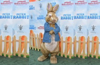 LOS ANGELES, CA - FEBRUARY 03: Peter Rabbit attends the premiere of Columbia Pictures' 'Peter Rabbit' at The Grove on February 3, 2018 in Los Angeles, California.   Neilson Barnard/Getty Images/AFP
