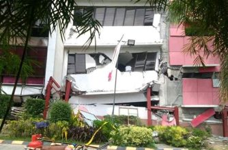 The damage in this  building of Cor Jesu College in Digos City, in Davao del Sur can be seen after the 6.6 magnitude quake that hit Tulunan, Cotabato.  The quake also shook several provinces of Mindanao at varying intensities.  (Photo courtesy Digos City PNP)